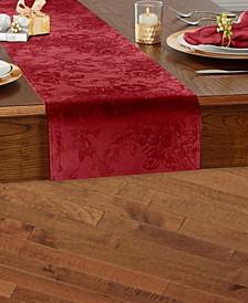 Elrene Poinsettia Jacquard Holiday Table Runner