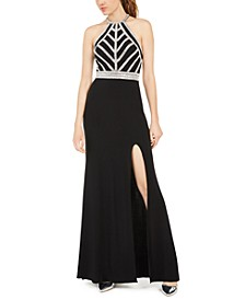 Juniors' Embellished Open-Back Halter Gown