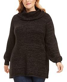 Plus Size Metallic Cowlneck Tunic Sweater