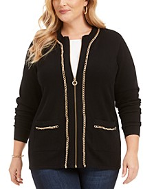 Plus Size Zip-Front Chain-Trim Cardigan