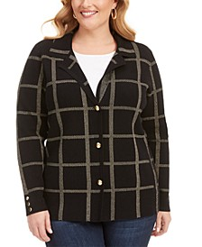 Plus Size Printed Point-Collar Cardigan