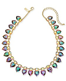 "INC Gold-Tone Crystal Heart Collar Necklace, 17"" + 3"" extender, Created For Macy's"