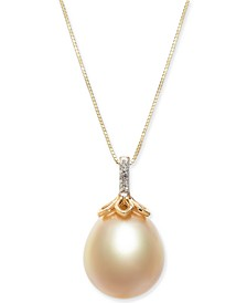 """Cultured Golden South Sea Pearl (12mm) & Diamond Accent 18"""" Pendant Necklace in 14k Gold"""