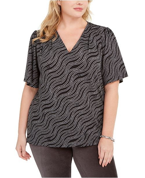 Michael Kors Plus Size Printed Puff-Sleeve Top