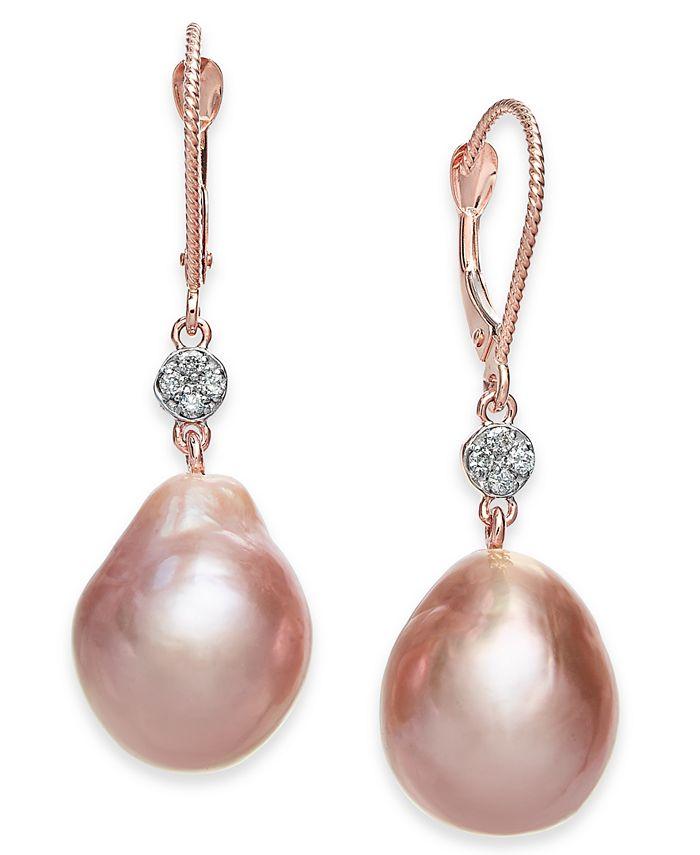 Macy's - Cultured Pink Baroque Freshwater Pearl (12mm) & Diamond (1/20 ct. t.w.) Drop Earrings in 14k Rose Gold