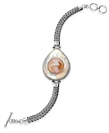 Cultured Blister Pearl (31 x 24mm) Bracelet in Sterling Silver