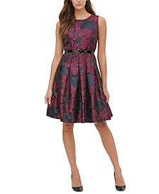 Petite Belted Jacquard Fit & Flare Dress