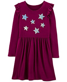 Little & Big Girls Sequin-Stars Jersey Dress