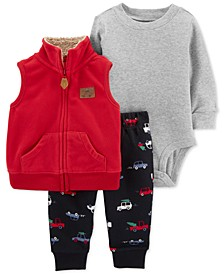 Baby Boys 3-Pc. Vest, Bodysuit & Cars-Print Pants Set