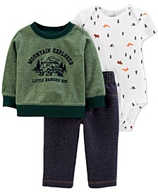 Baby Boys 3-Pc. Mountain Explorer Top, Camping-Print Bodysuit & Pants Set