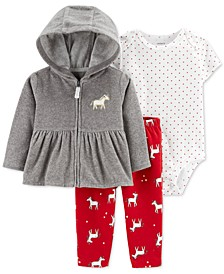 Baby Girls 3-Pc. Hooded Jacket, Dot-Print Bodysuit & Unicorn-Print Pants Set