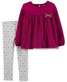 Toddler Girls 2-Pc. Babydoll Top & Heart-Print Leggings Set