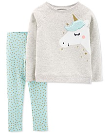 Toddler Girls 2-Pc. Fleece Unicorn Top & Star-Print Leggings Set