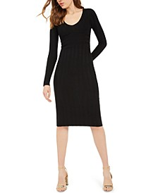 Juniors' V-Neck Ribbed Dress