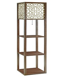 Herrin Floor Lamp with 3 Shelves And Floral Pattern Shade
