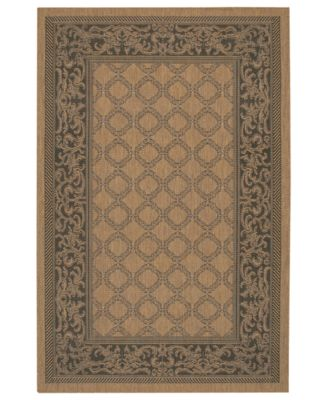 CLOSEOUT! Square Rug, Indoor/Outdoor Recife 1016/2000 Garden Lattice Cocoa-Black 8'6""
