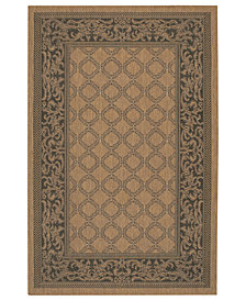 CLOSEOUT! Couristan Square Rug, Indoor/Outdoor Recife 1016/2000 Garden Lattice Cocoa-Black 7'6""