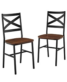 Industrial Wood Dining Chair, Set Of 2