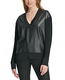 Faux-Leather V-Neck Sweater
