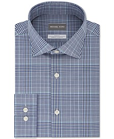 Men's Slim-Fit Non-Iron Airsoft Performance Stretch Plaid Dress Shirt