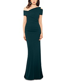 Scuba Crepe Asymmetrical Gown