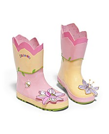 Little and Big Girl Natural Rubber Lotus Flowers Boots
