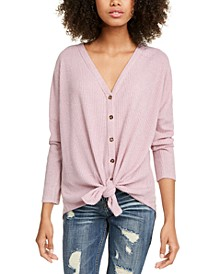Juniors' Cozy Ribbed Tie-Front Top