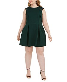 Trendy Plus Size Lace-Trim Fit & Flare Dress