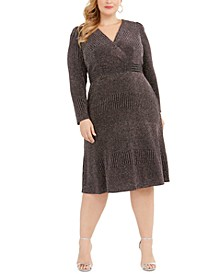Plus Size Glitter-Knit A-Line Dress