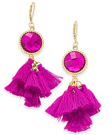 INC Gold-Tone Stone & Tassel Drop Earrings, Created For Macy's