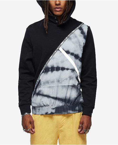True Religion Men's Tie Dye Color Block Hoodie