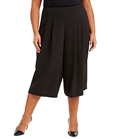 Plus Size Pull-On Polka Dot Culottes