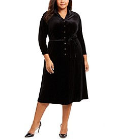 Plus Size Velvet Button-Down A-Line Dress