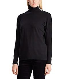 Contrast-Tab Turtleneck Sweater