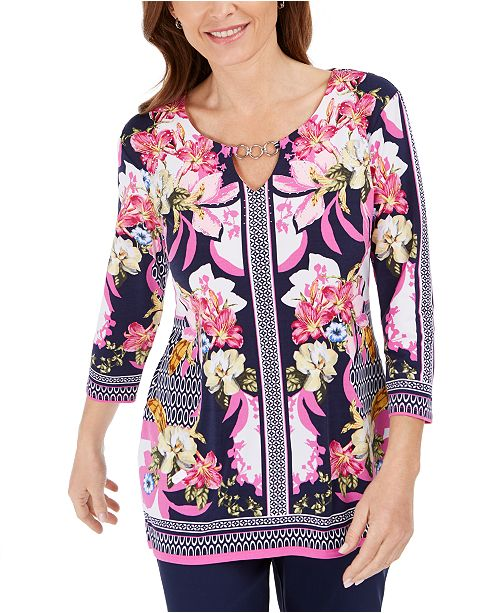 JM Collection Petite Printed Chain-Trim Tunic, Created for Macy's