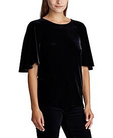 Velvet Flutter-Sleeve T-Shirt