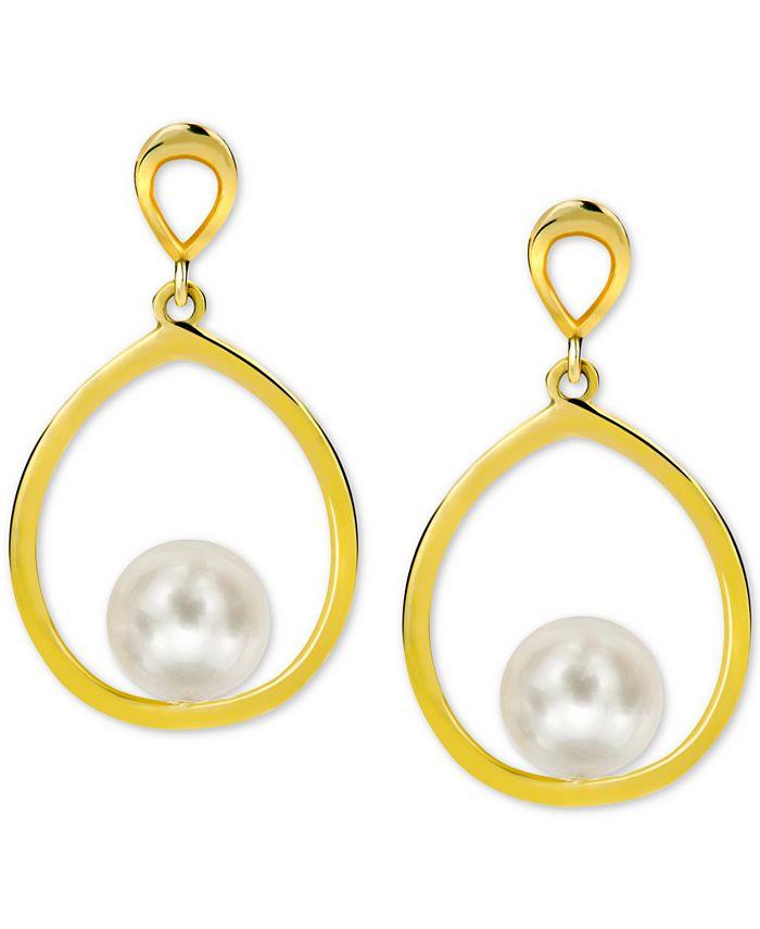 Macy's - Cultured Freshwater Pearl (7mm) Drop Earrings in 14k Gold