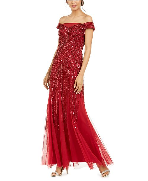 Adrianna Papell Embellished Off-The-Shoulder Gown