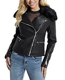 Tasha Faux-Leather Moto Jacket