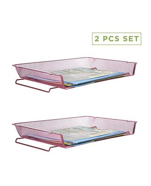 Mind Reader 2 Piece Stackable Letter Tray Desk Organizer
