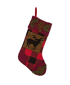 """18.90"""" L Plaid Stocking with Rug Hooked Reindeer"""