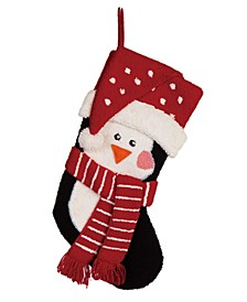 "19"" L Hooked 3D Penguin Stocking"