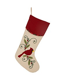 "21"" L Cardinal Christmas Stocking"