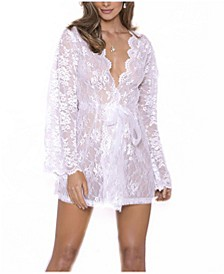 Women's Willow Lace Dressy Wrap Robe, Online Only