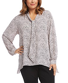 Tie-Neck Animal Print Blouse