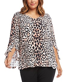 Plus Leopard Print Ruffle Sleeve Top