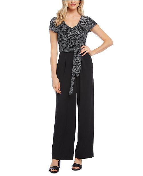 Karen Kane Zebra-Print Tie-Front Jumpsuit