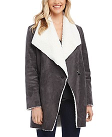 Faux Shearling Lined Toggle Coat