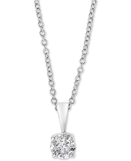 """EFFY Collection EFFY® Diamond Solitaire 18"""" Pendant Necklace (1/2 ct. t.w.) in 14k White Gold"""