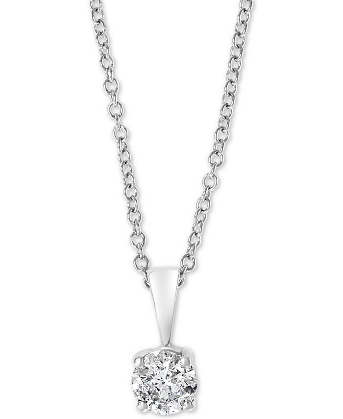"""EFFY Collection - Diamond Solitaire 18"""" Pendant Necklace (1/2 ct. t.w.) in 14k White Gold"""